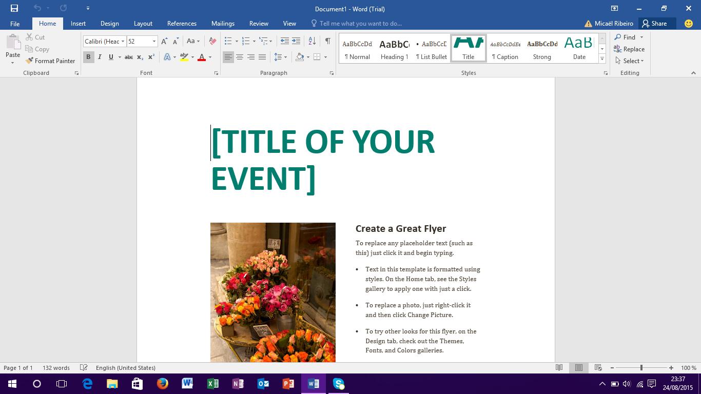 Capture d'écran Microsoft Office 2016 Preview