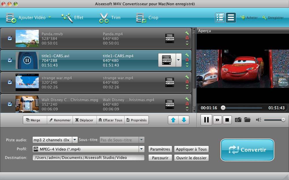 Capture d'écran Aiseesoft M4V Convertisseur pour Mac