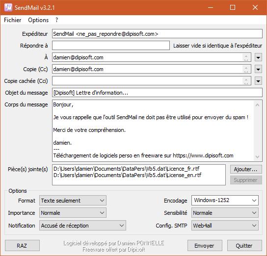 Capture d'écran SendMail v3.2.1