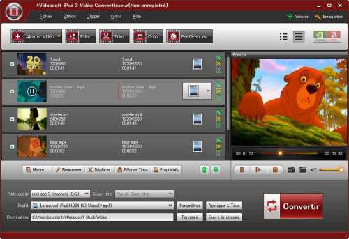 Capture d'écran 4Videosoft iPad 3 Vidéo Convertisseur