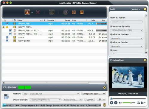 Capture d'écran mediAvatar HD Vidéo Convertisseur Mac