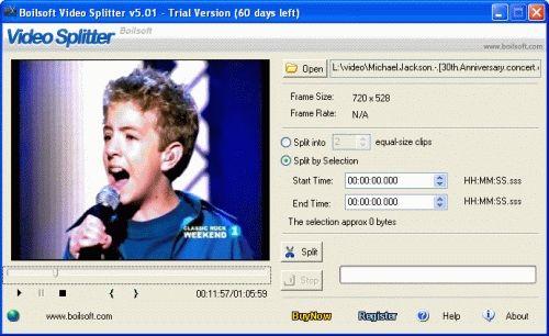 Capture d'écran Boilsoft Video Splitter