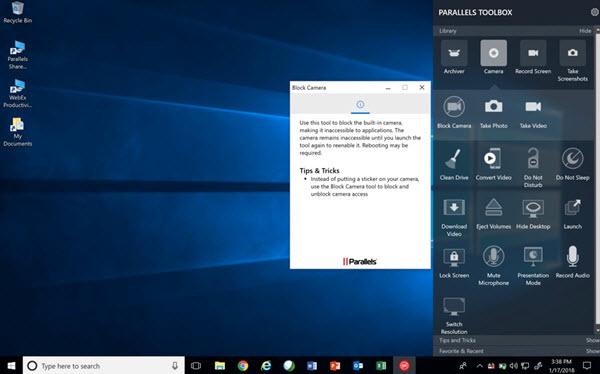 Capture d'écran Parallels Toolbox