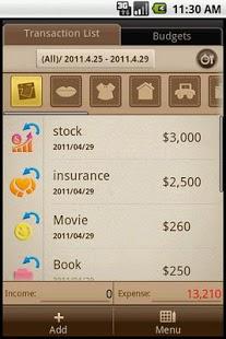 Capture d'écran Livre de comptes