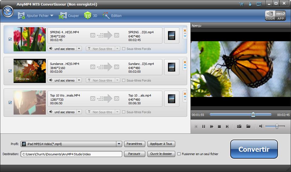Capture d'écran AnyMP4 MTS Convertisseur