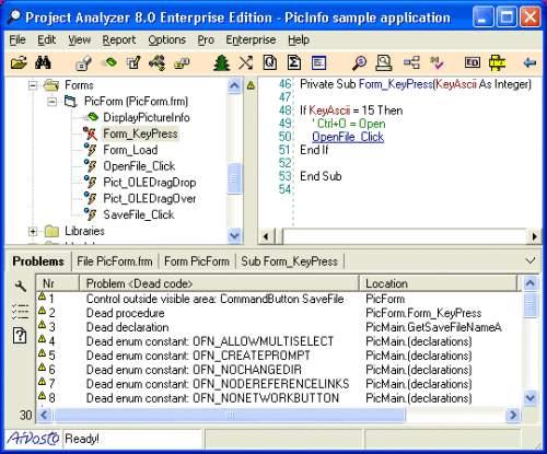 Capture d'écran Project Analyzer