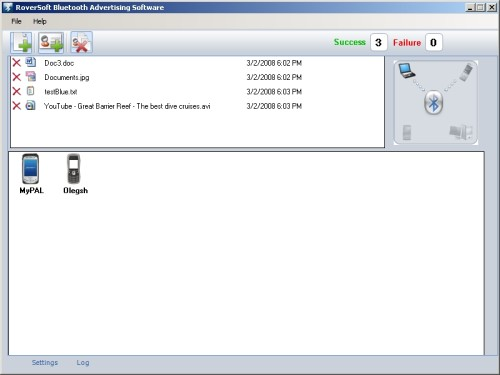 Capture d'écran Bluetooth Advertising software