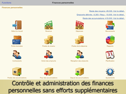 Capture d'écran Finances Personnelles, budgets