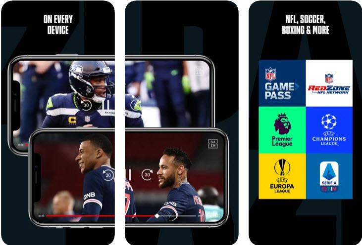 Capture d'écran DAZN iOS