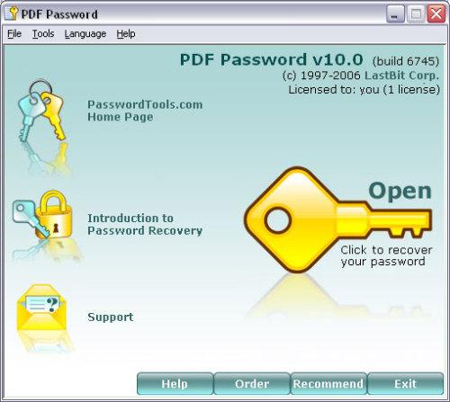 Capture d'écran PDF password