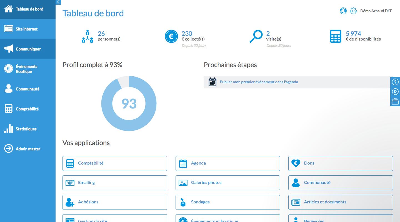 Capture d'écran AssoConnect – logiciel association