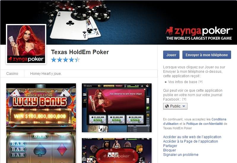 Capture d'écran Texas HoldEm Poker Facebook
