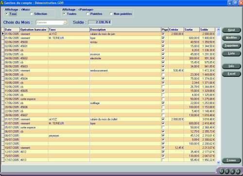 Capture d'écran Gestion de Trésorerie