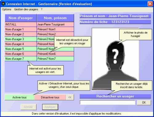 Capture d'écran Gestionnaire Internet