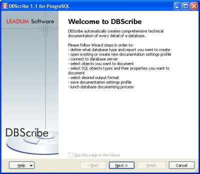 Capture d'écran DBScribe for PostgreSQL
