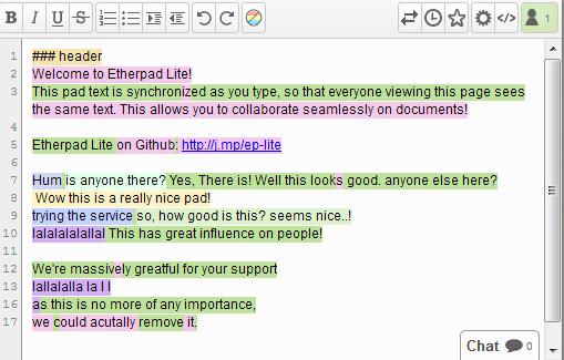 Capture d'écran Etherpad
