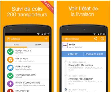 Capture d'écran AfterShip Android
