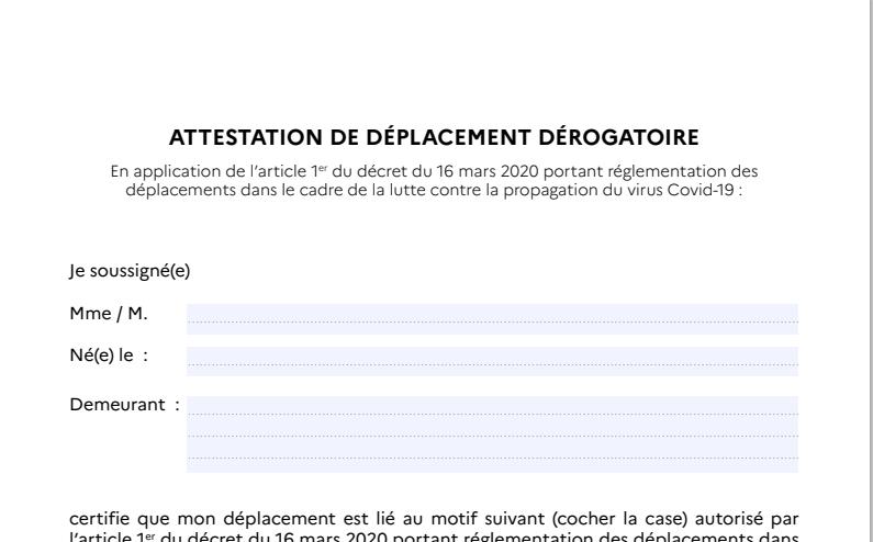 Capture d'écran Attestation de déplacement Covid 19 [MAJ]