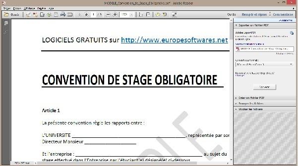 Capture d'écran Modèle de Convention de Stage Obligatoire