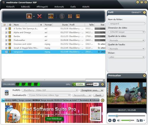 Capture d'écran mediAvatar Convertisseur 3GP Gratuit