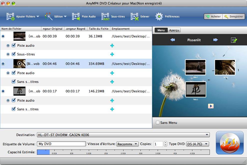 Capture d'écran AnyMP4 DVD Créateur  pour Mac