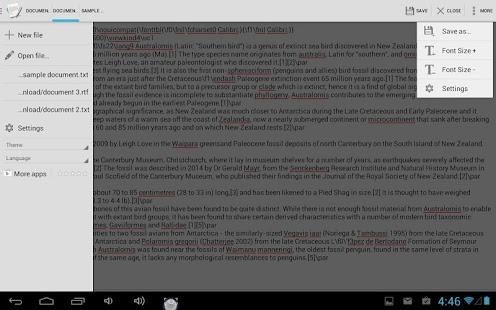 Capture d'écran Text Editor