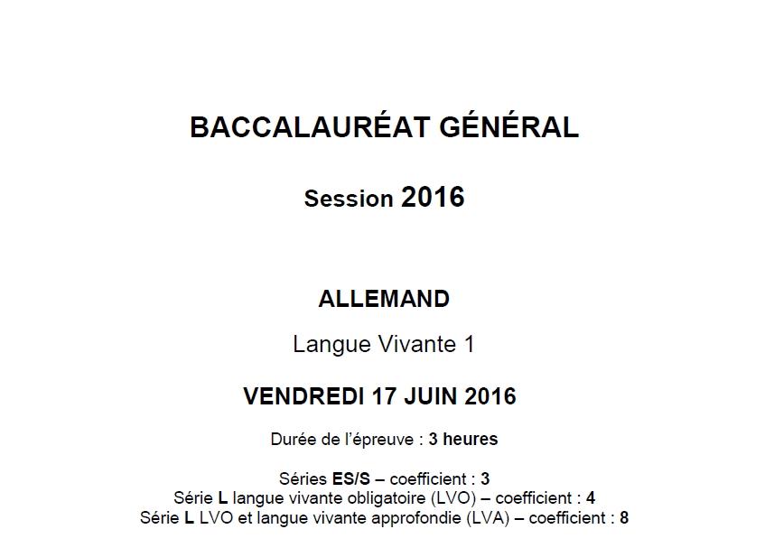 Capture d'écran Bac 2016 Allemand LV1 Série L-ES-S
