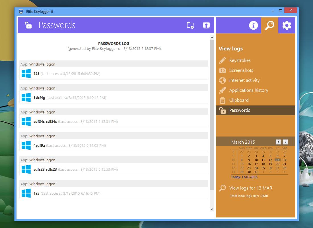Capture d'écran Handy Keylogger