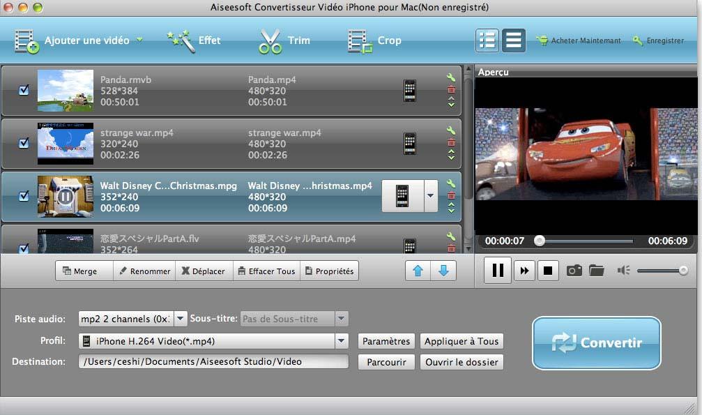 Capture d'écran Aiseesoft Convertisseur Vidéo iPhone pour Mac