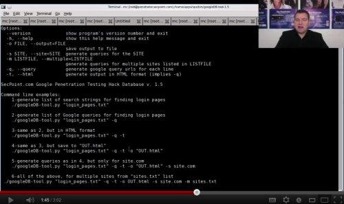 Capture d'écran Google Hack Database