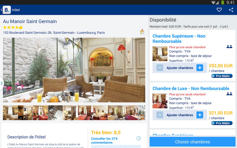 Capture d'écran Booking.com iOS