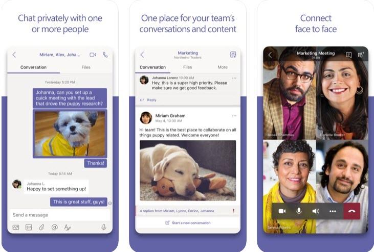 Capture d'écran Microsoft Teams iOS