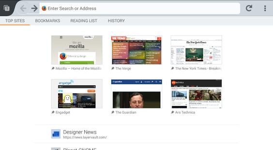 Capture d'écran Firefox Beta