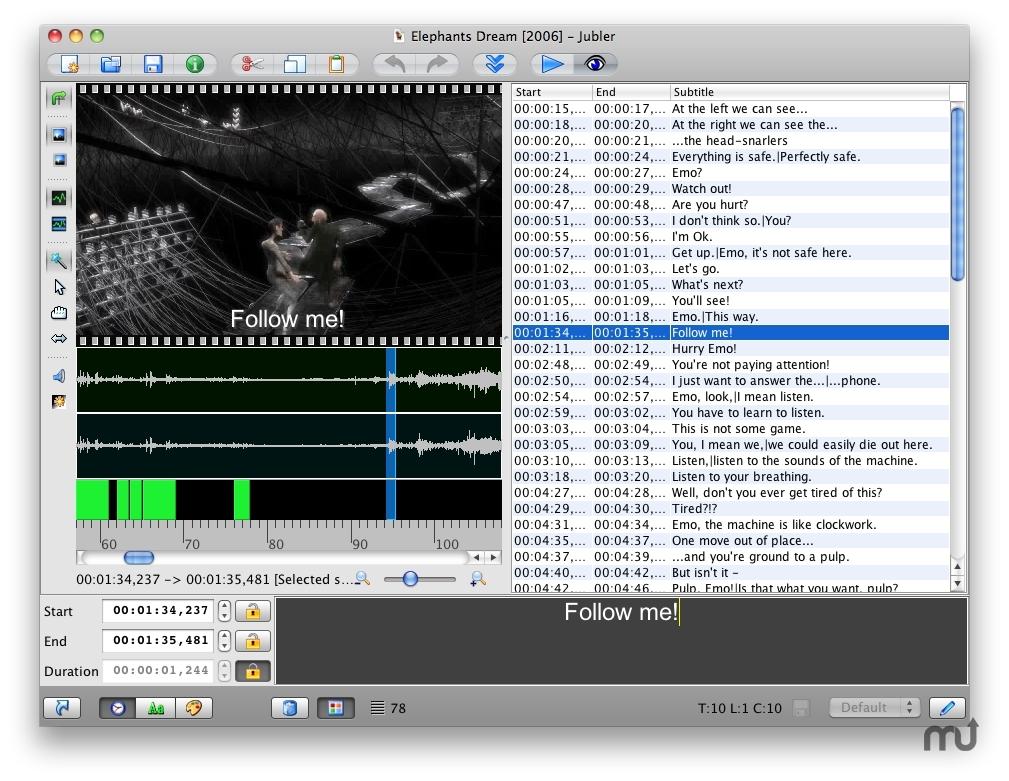 Capture d'écran Jubler Linux