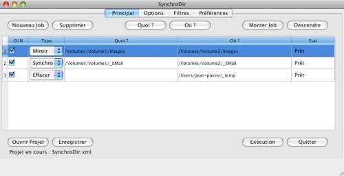 Capture d'écran SynchroDir