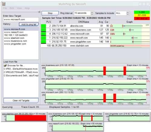 Capture d'écran MultiPing