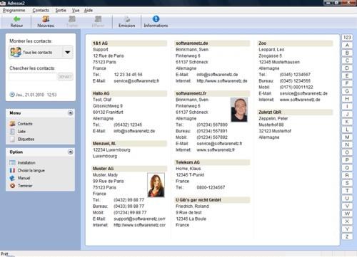 Capture d'écran softwarenetz adresse