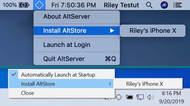 Capture d'écran Altserver (Altstore) Mac