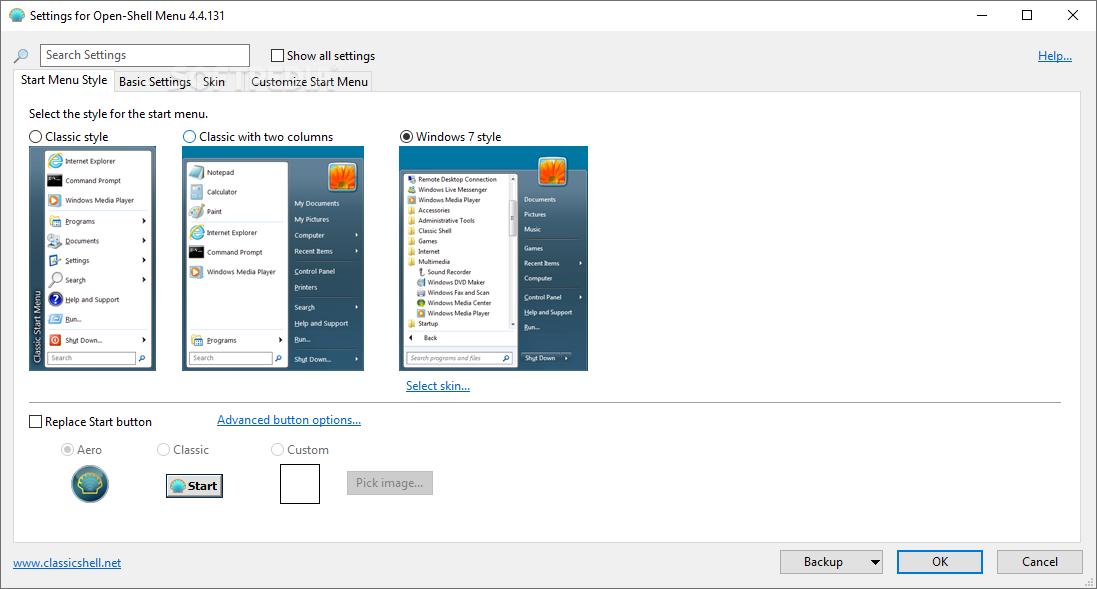 Capture d'écran Open Shell
