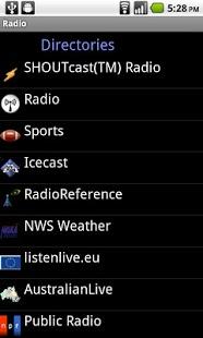 Capture d'écran Radio