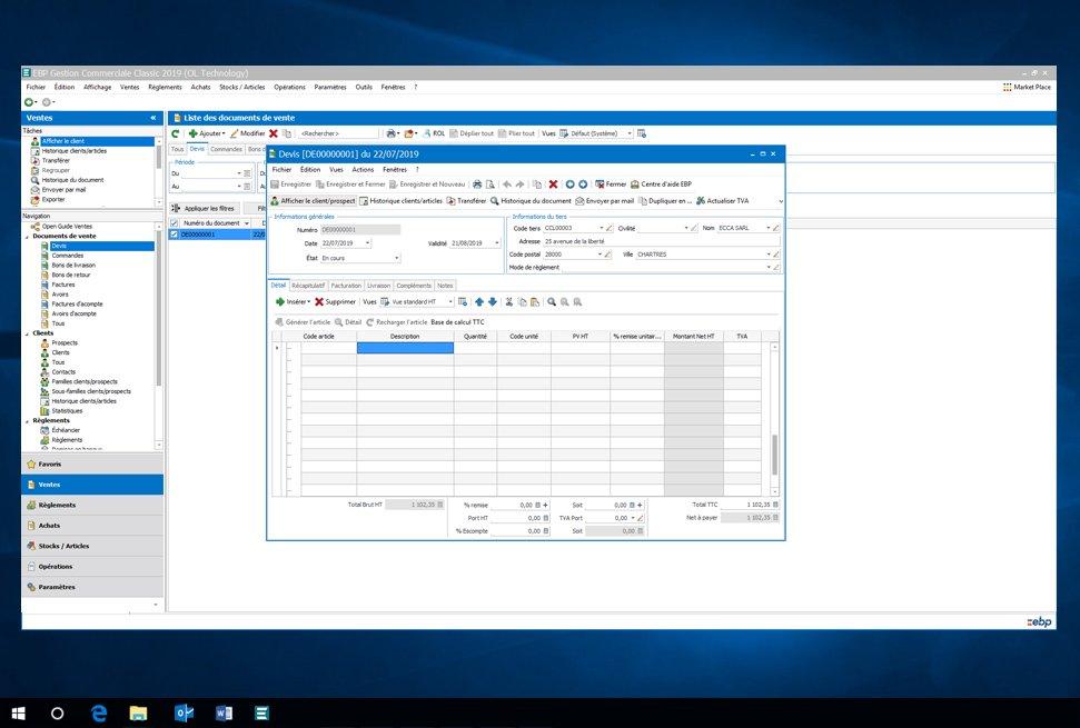 Capture d'écran EBP Gestion Commerciale 2021