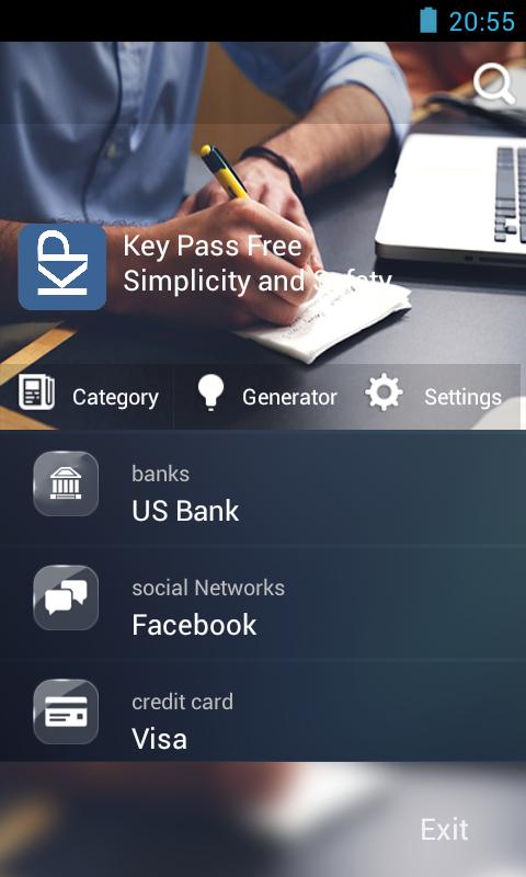 Capture d'écran KeyPasse