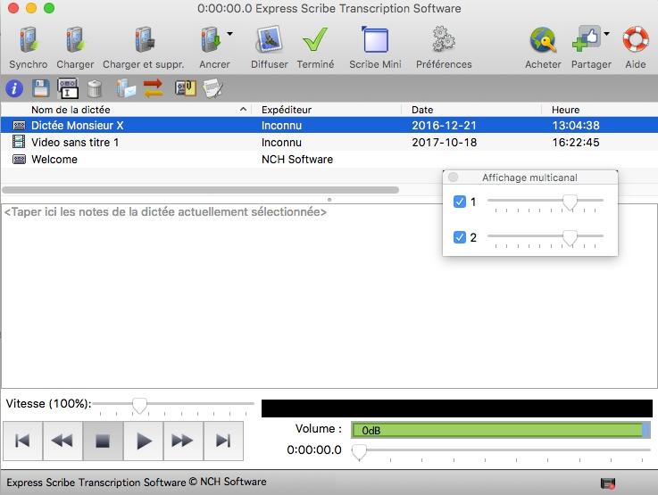 Capture d'écran Express Scribe – Lecteur de transcription Mac