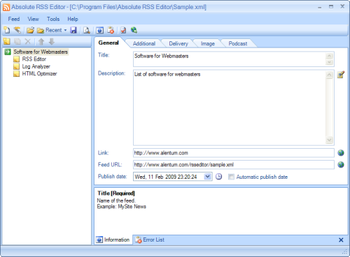 Capture d'écran RSS Feed Generator