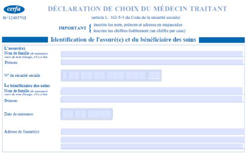 Capture d'écran Formulaire de déclaration du médecin traitant