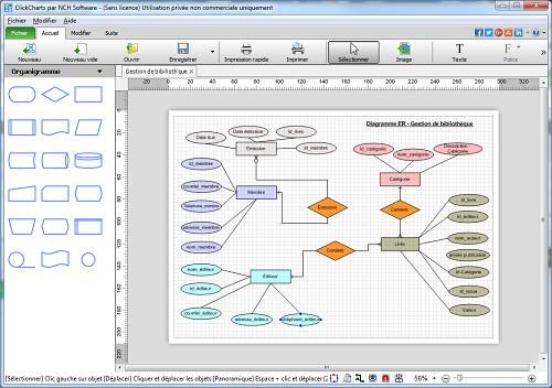 Capture d'écran ClickCharts – Logiciel de diagrammes