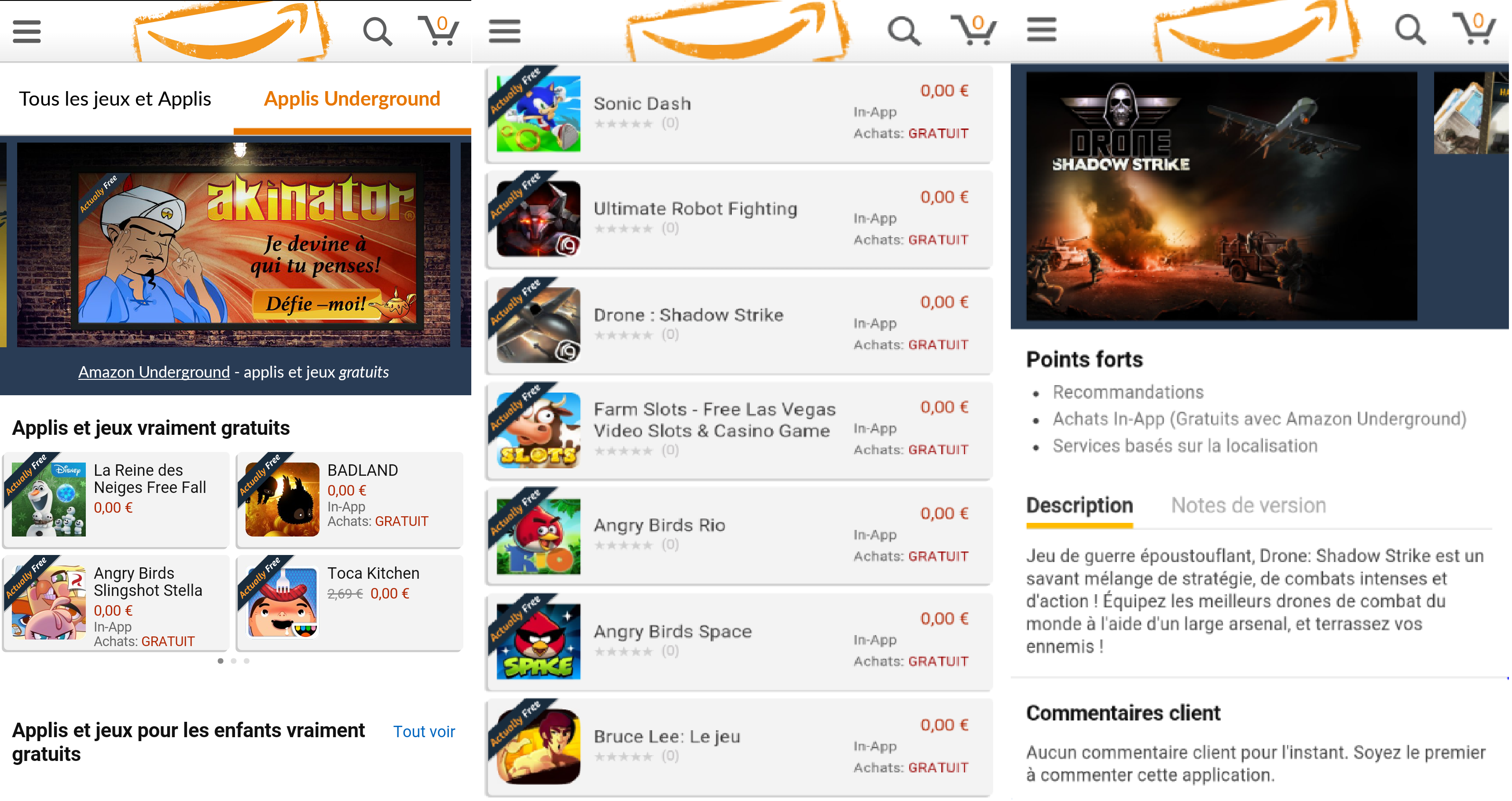 Capture d'écran Amazon Underground Android