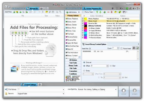 Capture d'écran Batch Hex Editor