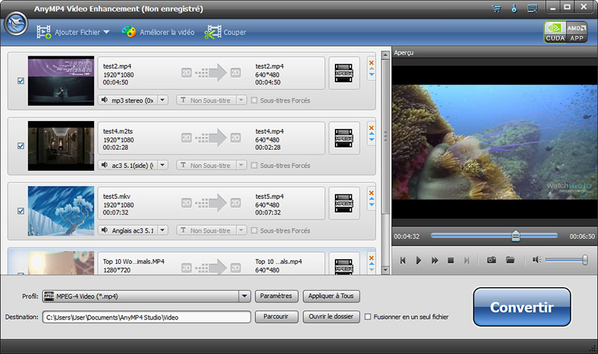 Capture d'écran AnyMP4 Video Enhancement