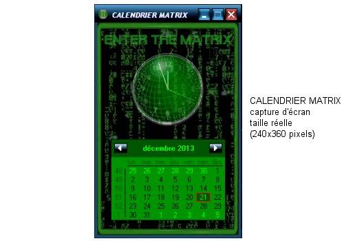 Capture d'écran Calendrier Matrix